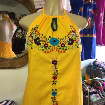 Mexican Handmade Embroidered Mini Halter Dress Yellow