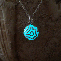 Glowing Aqua Blue Elegant Flower, GLOW in the DARK, Glowing Pendant, Glowing Necklace, Glow in the Dark Pendant, Glow Jewelry, Gift for Her