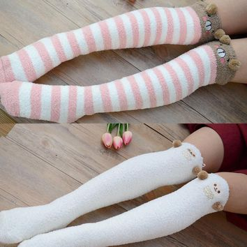 Kawaii Bear Sheep Women Thigh High Stockings