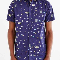 Lazy Oaf Garbage Print Button-Down Shirt- Navy