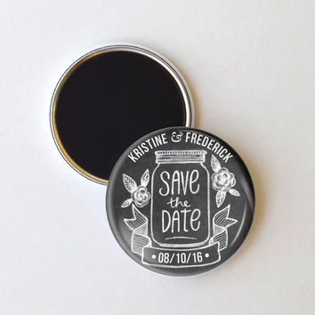Mason jar save the date magnets, wedding save the date, 2.25 inch magnets, pack of 25