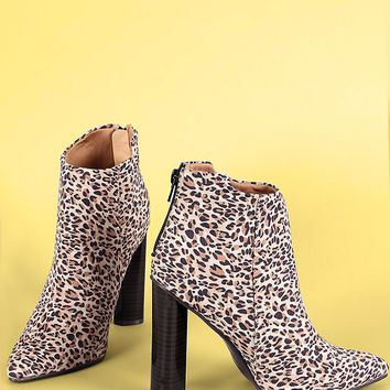 Qupid Leopard Pointy Toe Chunky Heeled Ankle Boots
