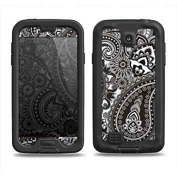 The Black & White Pasiley Pattern Samsung Galaxy S4 LifeProof Nuud Case Skin Set