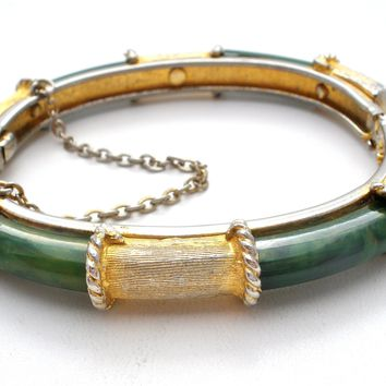 Vintage Faux Green Jade Gold Bangle Bracelet