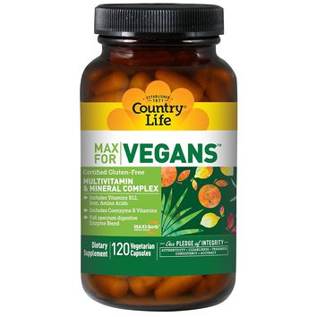 Country Life, Max for Vegans, Multivitamin & Mineral Complex, 120 Vegan Caps - 2pc