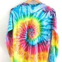 Bright Rainbow Tie-Dye Long Sleeve Unisex Tee