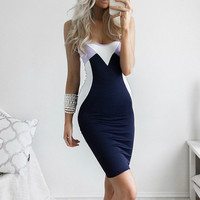 Spaghetti Strap Women's Fashion Backless Patchwork Sexy One Piece Dress [9710109583]