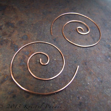"Copper Spiral Hoop Earrings 1.75"" - swirl hoop nautilus in copper or brass, fun interchangeable bail lightly hammered Eco-Friendly gift 40mm"