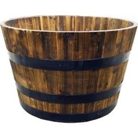Real Wood 26 in. Half Whiskey Barrel Planter, G3056 at The Home Depot - Mobile