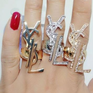 Yves Saint Laurent YSL Fashion Women Personality Ring Vintage Letter Diamonds Ring Accessories I12377-6