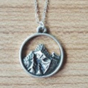 1pcs Tiny Mountain Charm Necklace  Simple Silver Nature Pendant  Nature Lovers Gift Women Girl Best Friend Gift-0330