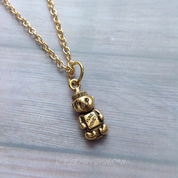 Honey bear necklace, great detail, 22k gold plated pewter charm necklace
