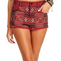 Burgundy High Waisted Tribal Short