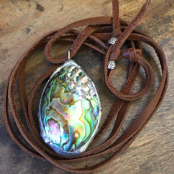 Abalone Necklace, Summer Soul Surfer, Knotted Leather Soldered Shell Pendant, Beach Boho Jewelry by Two Silver Sisters
