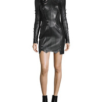 Mugler Original Grommet-Studded Leather Dress, Black