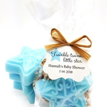 Blue Star Soap Baby Shower Favors with Personalized Twinkle Twinkle Little Star Tags, Set of 12