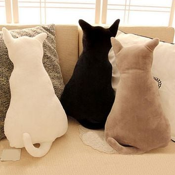 30cm/45cm Cute Cat Plush Back Shadow Pillow Seat Birthday Gift Little Pillows Cat Doll Plush Toy For Kids Cotton Cushion