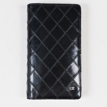 Chanel 2010-2011 Black Lambskin Leather Quilted Bifold Wallet