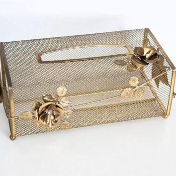 1960's Gold Tone Metal Decorative Tissue Box, Gold Metal Roses with Mesh, Cottage Chic