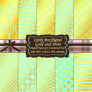 Gold and Mint Scrapbook, Gold and Mint paper, gold foil paper, mint and gold paper, mint and gold scrapbook - Commercial Use OK