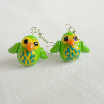 Green owl earrings cute hatchlings handmade from by NellinShoppi