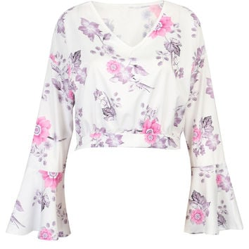 White V-neck Floral Print Flared Sleeve Crop Top