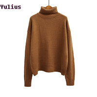 2015 Autumn and Winter Vintage Women Sweater	Batwing Sleeve Loose Turtleneck Knitted Pullover Army Green Sweaters Crop Top