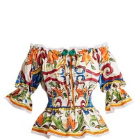 Majolica-print off-the-shoulder cotton-blend top | Dolce & Gabbana | MATCHESFASHION.COM UK