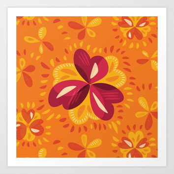 Orange And Pink Clover Abstract Floral Art Print by borianagiormova