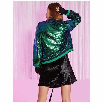 Mermaid Green Sequined Bomber Jacket