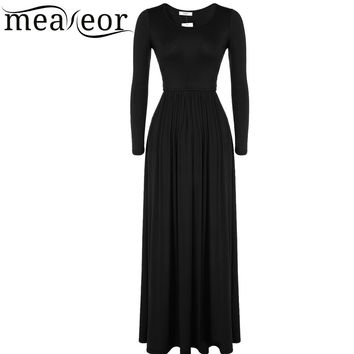 Meaneor Brand  2015-2016 Women vestidos autumn winter Fashion Casual Long Sleeve O-Neck Basic Soild A-Line Long Maxi Dress