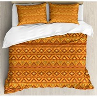 Orange Queen Size Duvet Cover Set, Ethnic Tribal Borders Ornaments Aztec Native American Culture Folk, Decorative 3 Piece Bedding Set with 2 Pillow Shams, Pale Orange Burgundy Yellow, by Ambesonne - Walmart.com