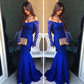 Sheath Lace Prom Dresses,Royal Blue Prom Dress,Long Evening Dress