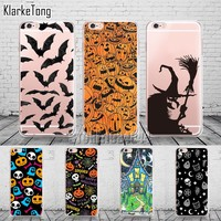 Pumpkin Halloween Bat Witch Boo Case For iPhone 6 6s 5 5s se 7/7Plus Transparent Silicone Protective Phone Cover Coque Capinha
