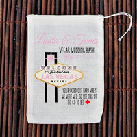 Las Vegas Wedding Hangover Kit Welcome Bag- Muslin Cotton Mini Favor Bags