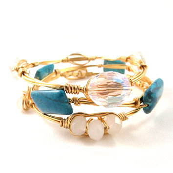Turquoise Stones and Crystals Bangle Set