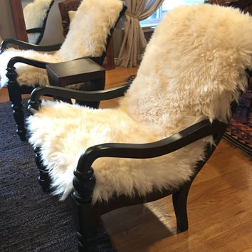 Pair of Vintage Restored Rustic white Sheepskin chairs with a Wool Pendleton black & white design custom design.