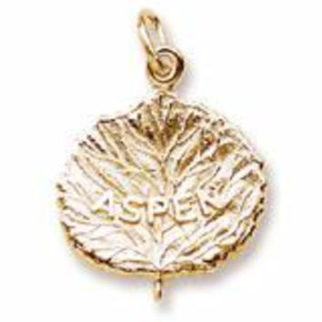 Aspen Leaf Charm In Yellow Gold