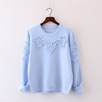 7 colors --fresh Three-dimensional Disk flowers Sweaters o-neck long sleeve Knitted pullover  mori girl  2016 autumn New