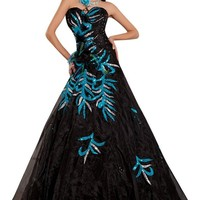 GEORGE BRIDE Women's A-Line Organza Strapless With Appliques Ball Gown