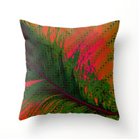 TROPICAL BREEZE No.1 colorful accent pillow, feather design pillows, cushion cover, pillow cover, scatter cushion, sofa pillow, patio pillow