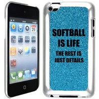 Light Blue Apple iPod Touch 4th Glitter Bling Hard Case Cover GT457 Softball is Life