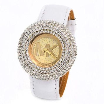 PEAPIH3 MK Stylish Ladies Men Simple Diamond Watch Shell Leather Belt Watch Couple Wristwatch +Gift Box White I