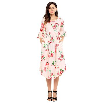 Chicloth Pink 3/4 Bell Sleeve Floral Midi Dress