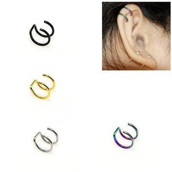 ac PEAPO2Q 1PCS Clip On Wrap Earring Tragus Stainless Steel 2 Rings Ear Cuff Clip nose ring Fake Piercing Body Jewelry Dilataciones Falsas