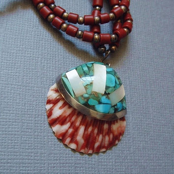 SIGNED Vintage Native American Santo Domingo NECKLACE Turquoise STERLING Mosaic Inlay Shell Kewa Pueblo Handmade Beads c.1970s