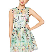 Floral Sleeveless Sheath A-Line Pleated Mini Dress