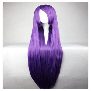 "Women Fashion 100CM/39"" Long straight Cosplay Fashion Wig heat resistant resistant Hair Full Wigs  Deep purple"
