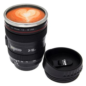 Camera Lens Stainless Steel Travel Coffee Mug with Leak-Proof Lid Cool Gift