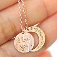 i love you to the moon and back necklace, moon necklace, i love you necklace, crest necklace, love necklace, bestfriends necklace, necklace